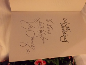 """Milly Johnson signed my copy of """"White Wedding"""""""